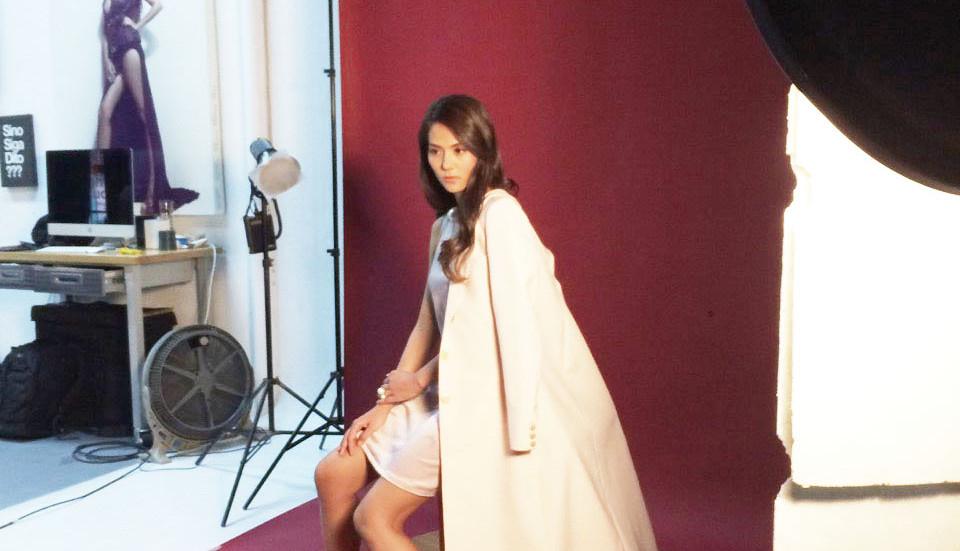 Vanessa Matsunaga wearing Alyssa de Guzman Couture coat for a commercial shoot.