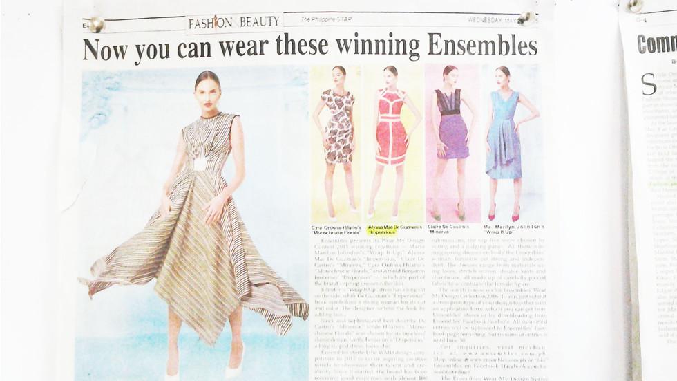 Alyssa de Guzman Winner of Wear my Design contest Year 3 featured at Philippine Star.