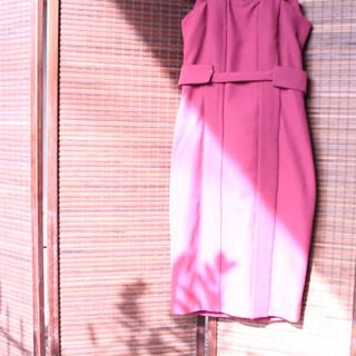 Red Maroon Couture Dress Neoprene Bleach