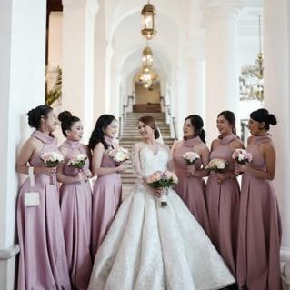 Wedding gown and entourage