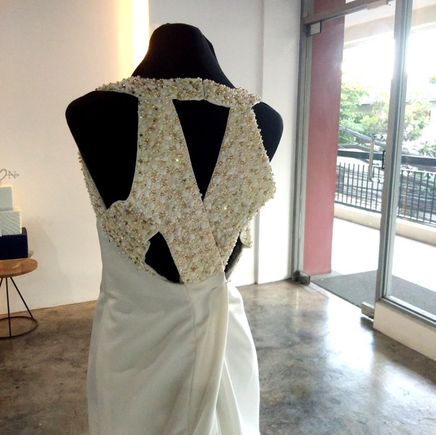 Guita Pearl Embellished Bridal Gown Back