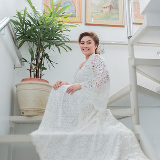 Belle in this all lace bridal robe