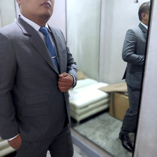Jerry Pascua in his bespoke gray suit