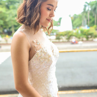Erika in Flower petal and fully beaded gown