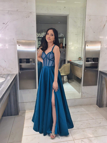Lara in a teal outline corset gown for her Colegio San Agustin, Makati  prom.