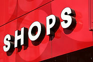 word shops in white  with red background