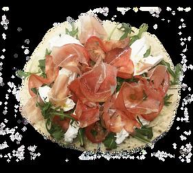 Piadina bread with prosciutto