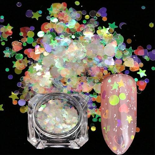 Glitter para unhas flocos mix holográficos