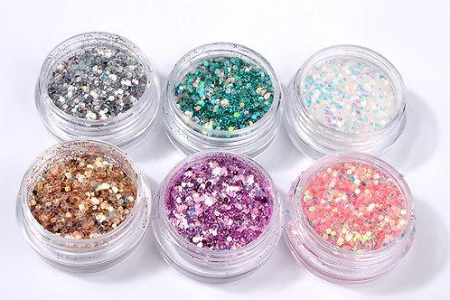 Kit Glitter para unhas com lantejoulas