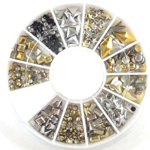 Pedrarias Para Unhas Várias Formas douradas e prateadas