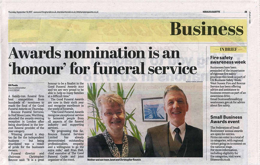 Article in the Worthing Herald covering Rounce Funeral Services and their Good Funeral Award in 2017