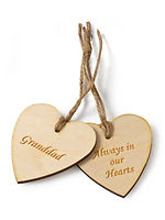 engraved heart message tags
