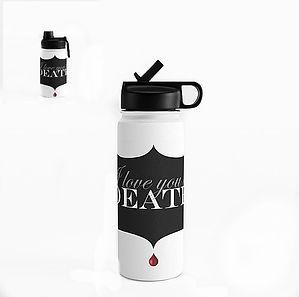 water bottle, straw, love, black, white,