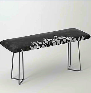 bench, padded, zen den tree, black, whit