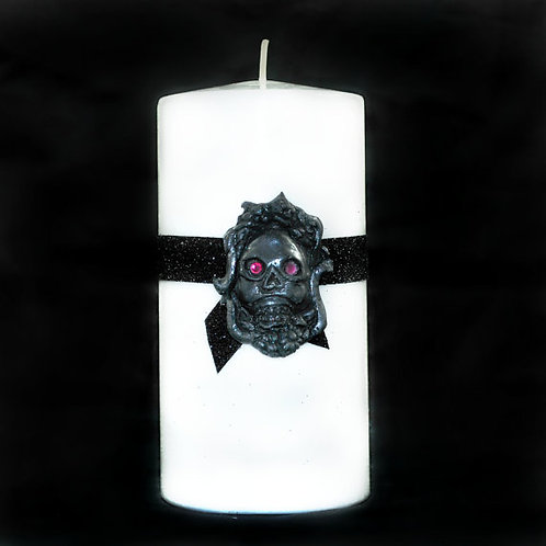RIP Skull Gothic Style Pillar Candle
