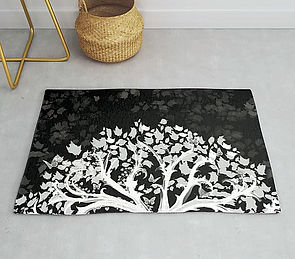 rug, zen den tree, black, white, tree, l