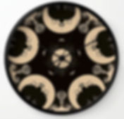 wall clock, ouija wheel of moon, dark de