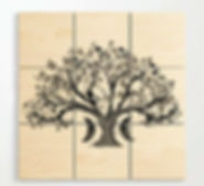 wooden wall art, zen den tree, half moon