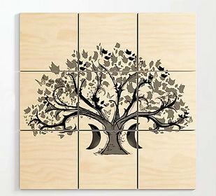 wooden wall art, zen den tree, half moon
