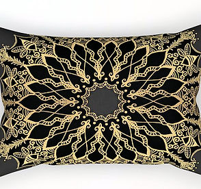 golden bee mandala rectangle pillow thro