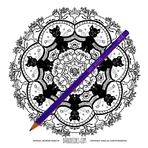Dark Decors Coloring Book Page (Cats)