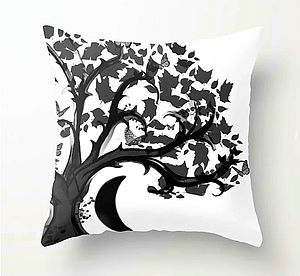 throw pillow, zen den tree, half moon, b