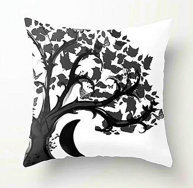 throw pillow, zen den tree, half moon, b