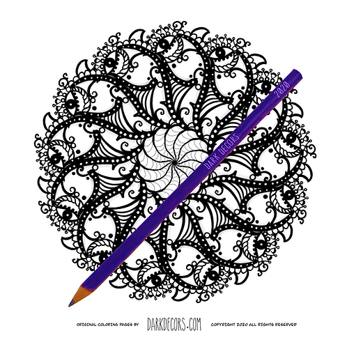 Dark Decors Coloring Book Page (Eyes)