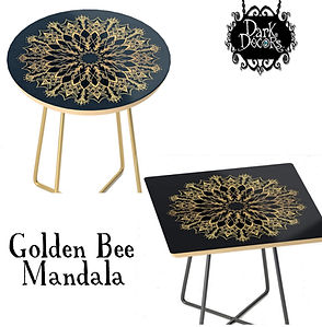 Golden Bee Mandala end tables round squa