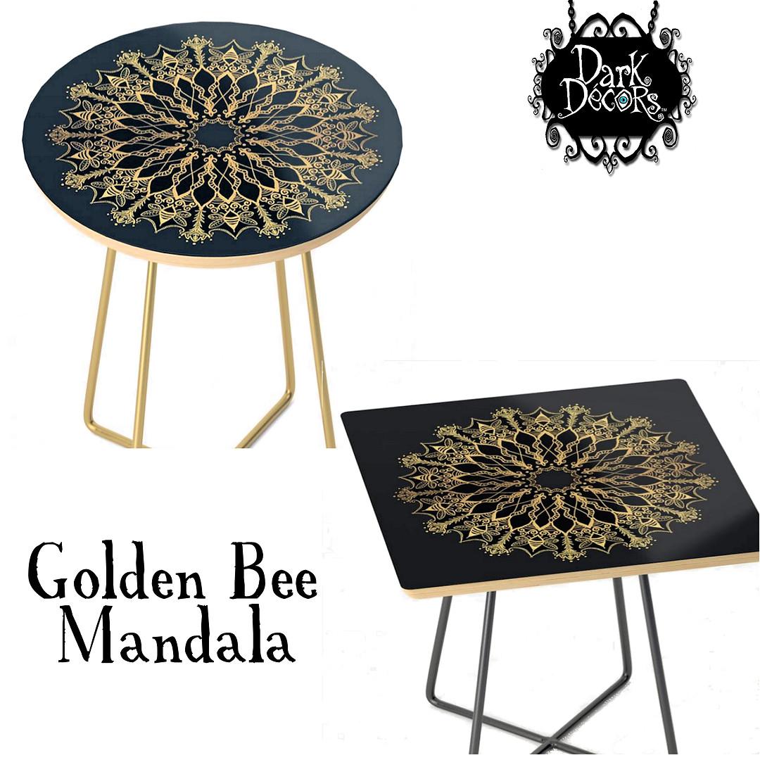 Golden Bee Mandala end tables round squa