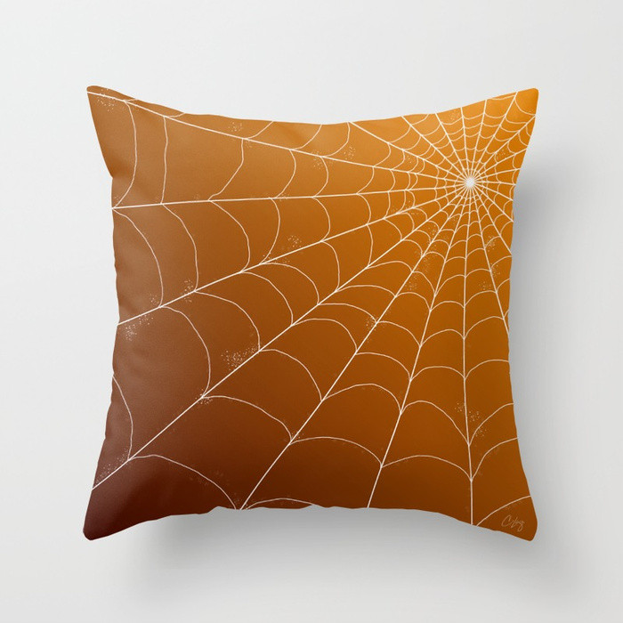 Throw Pillow - Spiderweb on Pumpkin