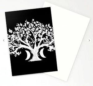 stationery cards, zen den tree, half moo