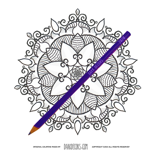 Dark Decors Coloring Book Page (Flowers)