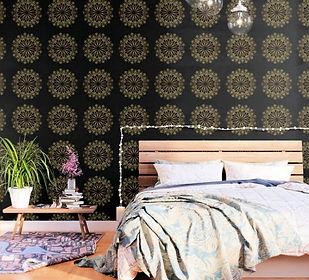 golden bee mandala wall paper black gold