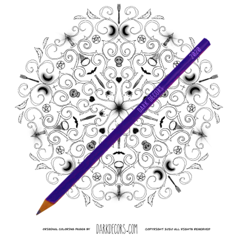 Dark Decors Coloring Book Page ( Magick Circle)