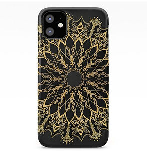 golden bee mandala Iphone 11 cover black