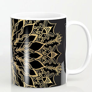 golden bee mandala mug coffee tea black