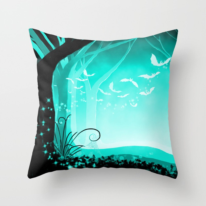 Throw Pillow Cover Dark Forest at Dawn in Aqua