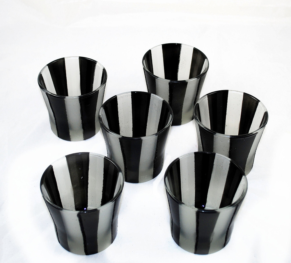 Burtonesque Striped Frosted Candle Votives