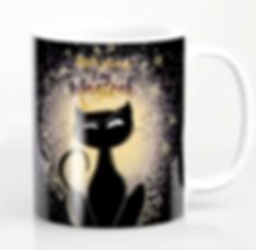 coffee mug black cat magical dark decors