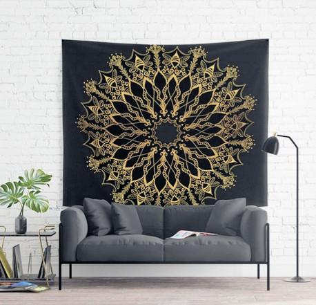 golden bee mandala wall tapestry black g