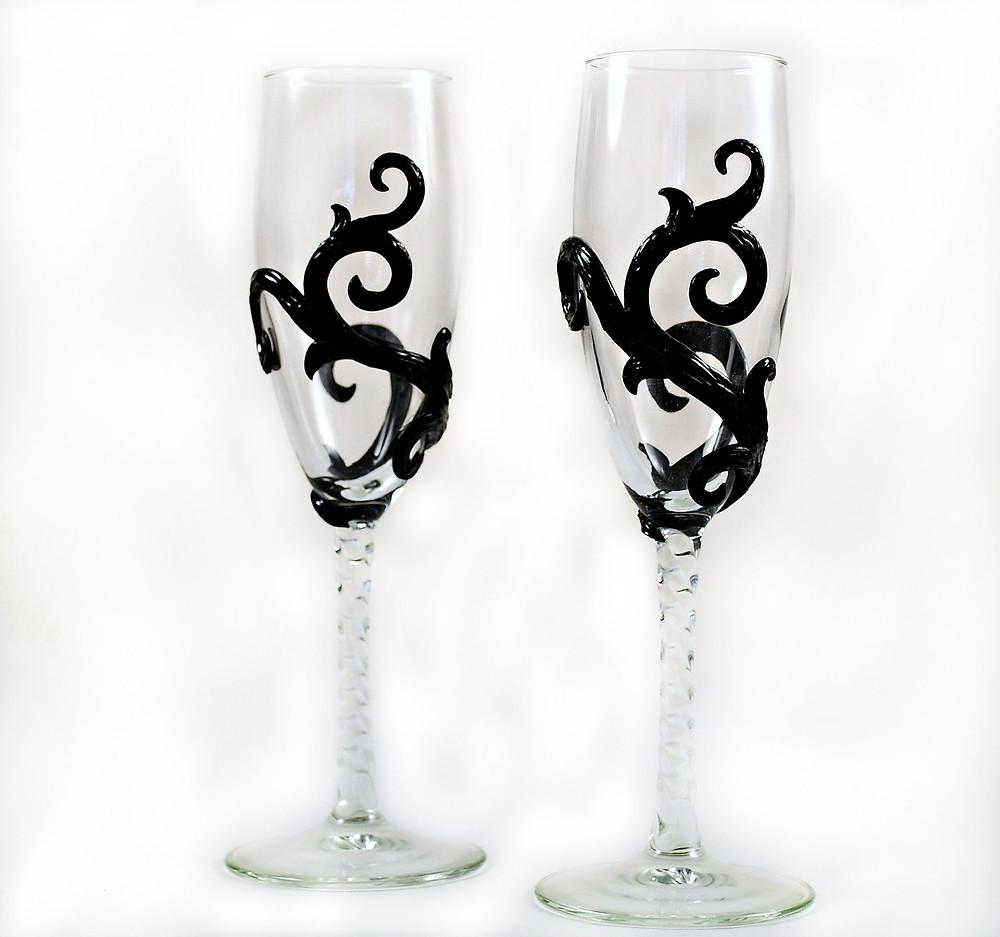 Champagne Flute Set - Burtonesque Style