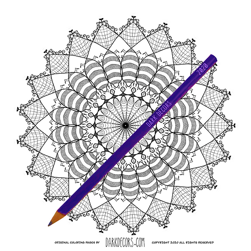 Dark Decors Coloring Book Page (Sunflower)