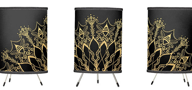 tri pod lamp golden bee mandala dark dec
