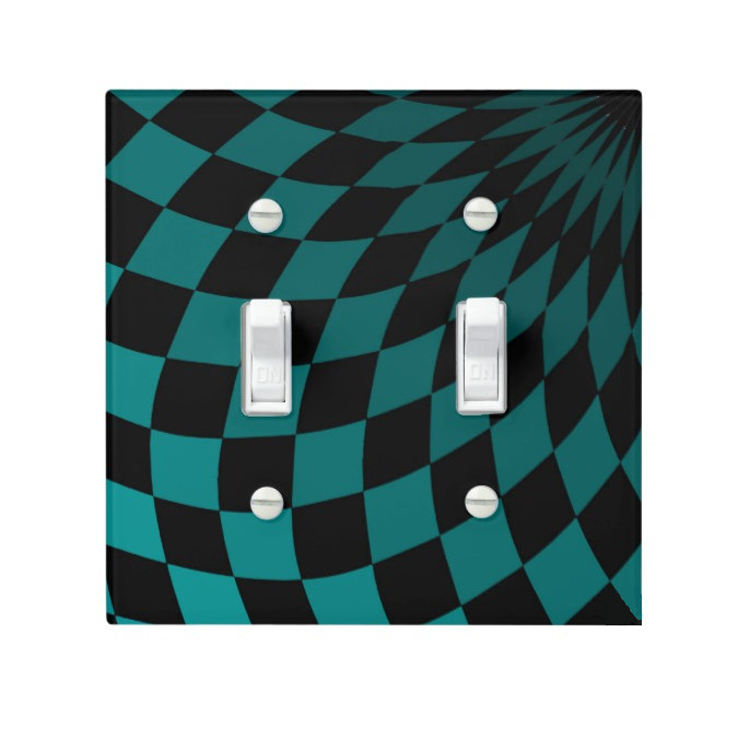 Light Switch Cover - Double - Wonderland Floor in Turquoise by Dark Decor