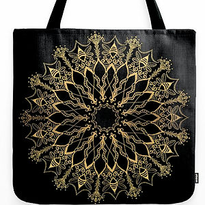 Golden Bee Mandala tote bag canvas black