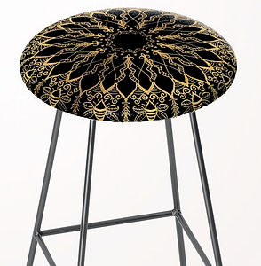 Golden Bee Mandala bar stool dark decors