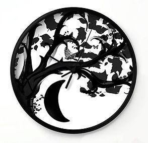 wall clock, zen den tree, black, white,