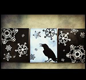 3 piece holiday raven canvas, black, whi