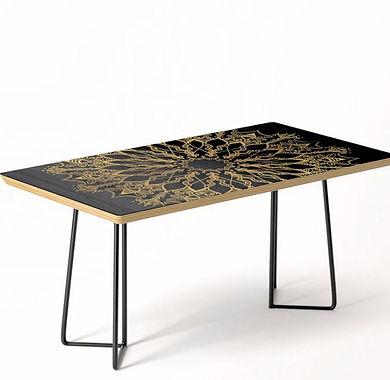 Golden Bee Mandala coffee table dark dec
